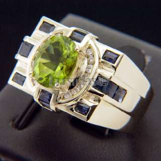 Peridot Sapphires Diamonds 14K Solid Gold Ring r00087