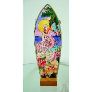 Pink Flamingo Stained Glass Art Panel Candle Votive