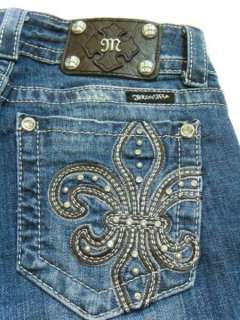 ME Crystals Super Glam Leather Stud Fleur de Lis Boot cut Jeans