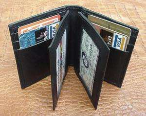 MENS BLACK LEATHER CREDIT CARD WALLET LAMB BIFOLD 774