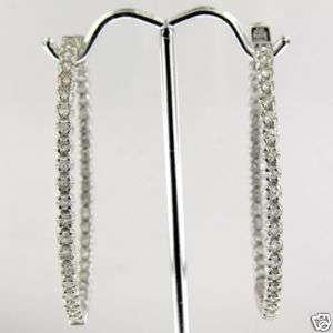 25 CT WHITE GOLD DIAMOND HOOP EARRINGS 14 KT