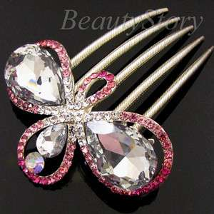 SHIPPING 1pc rhinestone crystal flower French twist hair comb