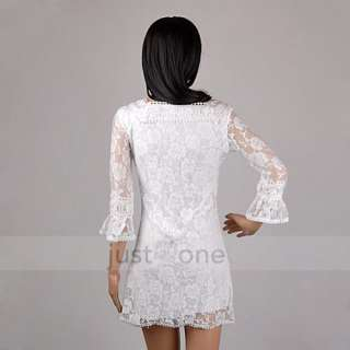 Fashion Women Lady Girl White Lace Flower Neck Crochet Mini Dress