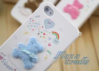 1x Sweet Love Blue Solid Bear Hard Skin Case Accessory ONLY. Phone not