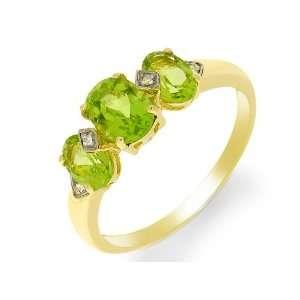 9ct Yellow Gold Peridot & Diamond Ring Size 8 Jewelry