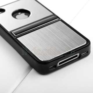 Blue Aluminum TPU Hard Case Cover W/Chrome Stand Fr iPhone 4 4G 4S