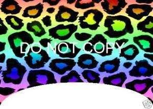 Rainbow Leopard Print LONG Tip Nail decals Set of 20