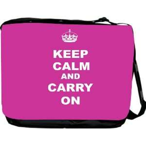 Keep Calm and Carry On   Pink Rose Messenger Bag   Book Bag   School