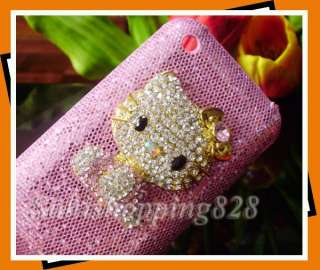 New Pink 3D Diamond Hello Kitty Bling Hard Case Cover For Apple iPhone