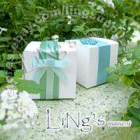 100 White Linen Wedding Favor Box Party Bomboniere Gift