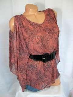 Flowy chiffon split sleeves top blouse tunic belt S M L