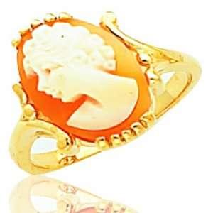 Ladiess 10K Yellow Gold Cameos Stone Masonic Ring Jewelry