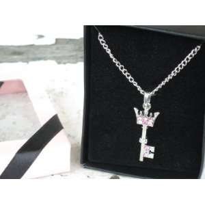 Shimering Pink Jeweled Crown Topped Key Necklace in Gift