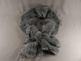 Grey Gray faux fur stretch scarf neck wrap warmer muffler collar pull