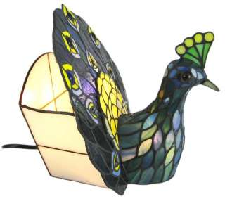 Leaded Stained Glass Peacock Accent Table Lamp