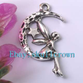 FREE SHIP 80pcs Tibetan Silver Angel on the Moon Star Charms LP7452