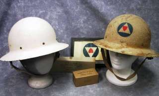 WWII Civil Defense OCD Helmet (2), Police Auxiliary Arm Band, Dressing