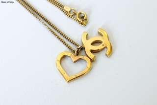 Authentic CHANEL Goldtone CC Open Heart Pendant Necklace 04P
