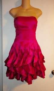 Fuschia Pink Strapless Vertical Ruffle Dress Matching Scarf S