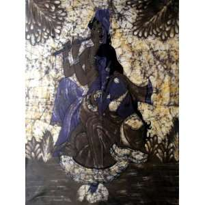 Hindu God Lord Krishna & Goddess Radha Indian Batik Tapestry Fabric