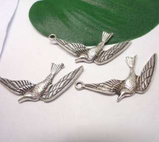 10X Tibetan Silver Flying Bird Pendant Charms Beads 32*19mm