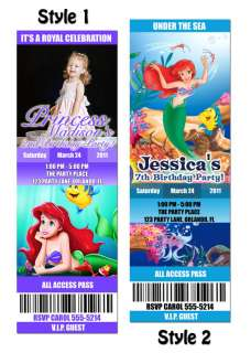 Little Mermaid CUSTOM Birthday Party Invitation Ticket