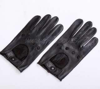 GENUINE Lambskin Leather MOTORCYCLE Bike Racing 4 holes Driving gloves