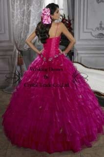 beaded Quinceanera Dresses Bride Wedding Gown Evening Prom Dress