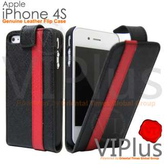 Leather Flip Case Slim Cover Holster Apple iPhone 4 4S Black Red Strip