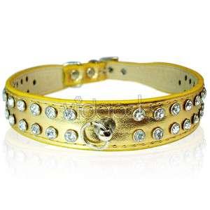 14 16 Golden Leather Rhinestone Dog Collar Medium M