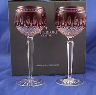 Waterford Clarendon Ruby Red Wine Hock Glasses NIB
