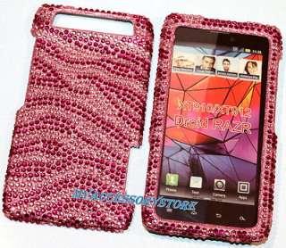 Verizon Motorola Droid Razr Razor Pink Zebra Rhinestones Bling Phone