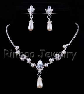 Flower Rhinestone&Imitate Pearl Necklace&Earrings Set
