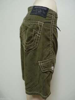 True Religion Jeans Mens Buddha Green Board Shorts 33