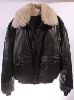 MENS EXCELLED LEATHER FAUX FUR G 1/A 2 FLIGHT COAT XXL