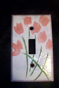 Enamel on Copper Pink Flower Tulip Light Switch Cover