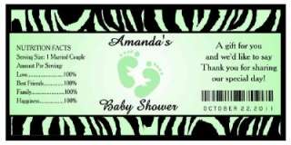 20 ZEBRA BABY SHOWER FAVORS WATER BOTTLE LABELS ~ Glossy ~ Waterproof