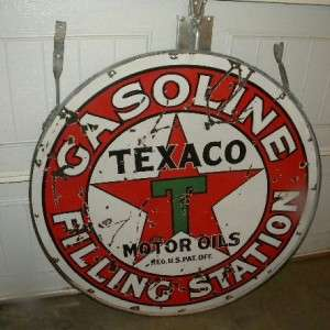 Old Texaco Gasoline Motors Oils Filling Station Sign w/ Ring Early