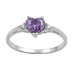 27ct Amethyst Ice CZ Heart Cut Promise Commitment Friendship Ring sz 7