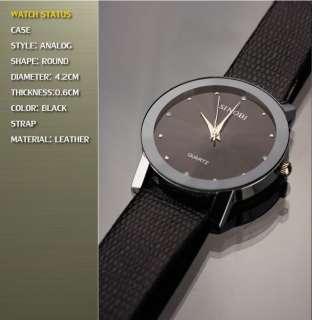 CLASSIC BLACK LEATHER STRAP QUARTZ MAN MENS FASHION WRIST WATCH S981G