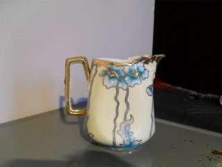 Nippon Blue Meconopsis Poppy Gold Gilt Moriage Creamer/Pitcher