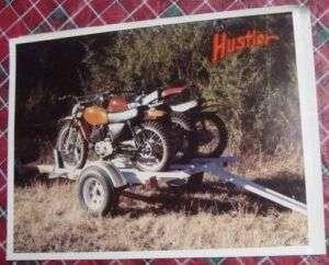 Vintage HUSTLER Motorcycle Trailer Brochure /w Letter