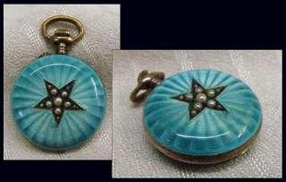 Antique Ladies Sterling Enamel & Pearl Pendant Pocket Watch