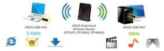 Asus USB N53 n600 Dual Band USB WLAN Adapter, 2x 300