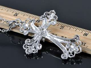Flourish Flower Gothic Renaissance Cross AB Crystal Rhinestone Pendant