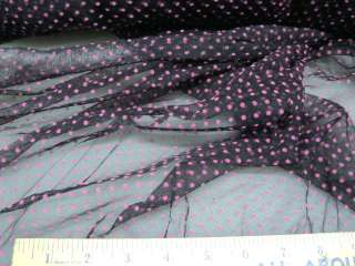 Fabric Organza mesh Stretch Lace Black Pink Dots OR501