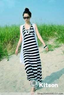 Women Fashion BOHO Black&white Stripes Top Long Maxi Evening Full