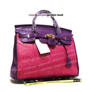 High quality mixed colors Ostrich embossed pattern woman handbag W53