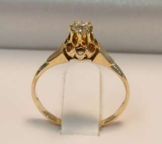 VICTORIAN 14K ROSE GOLD SOLITAIRE EUROPEAN DIAMOND RING