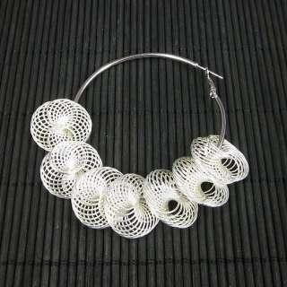 Pair New Fashion Lady 60mm Hoop Earring Metal Net 21mm Beads Silver